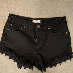 Free People Black Lace Fringe Jean Short